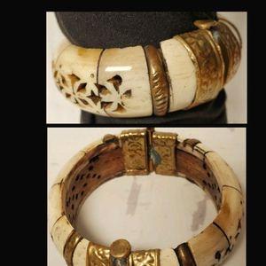 Rare true vintage bone and brass bangle